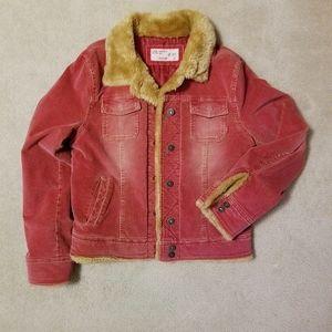Red Corduroy Fur Cargo Trucker Jacket Litmus Jeans